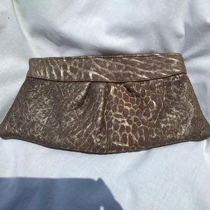 Lauren Merkin Brown/Gold Distressed Leather Clutch